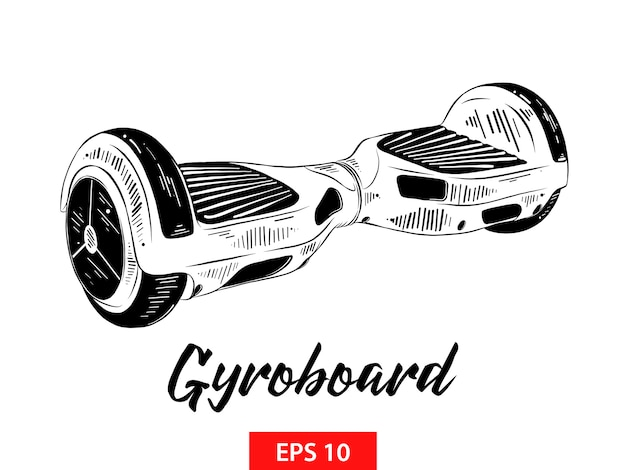 Schizzo disegnato a mano di gyroboard in nero