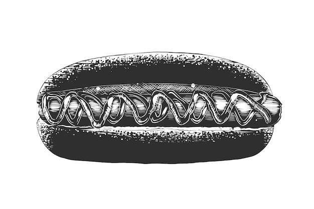 Schizzo disegnato a mano di hot dog in bianco e nero
