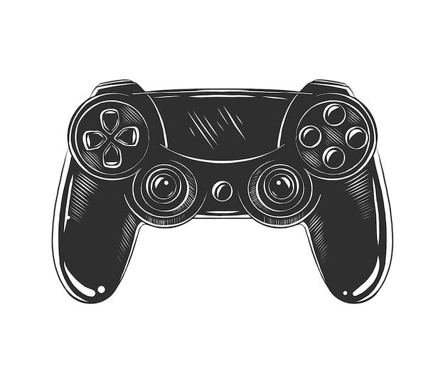 Schizzo disegnato a mano di joystick in bianco e nero