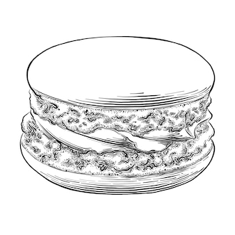 Schizzo disegnato a mano di macaron nel nero isolato. disegno dettagliato in stile vintage.