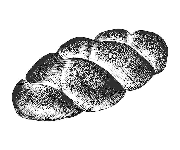 Schizzo disegnato a mano di pagnotta di pane intrecciato