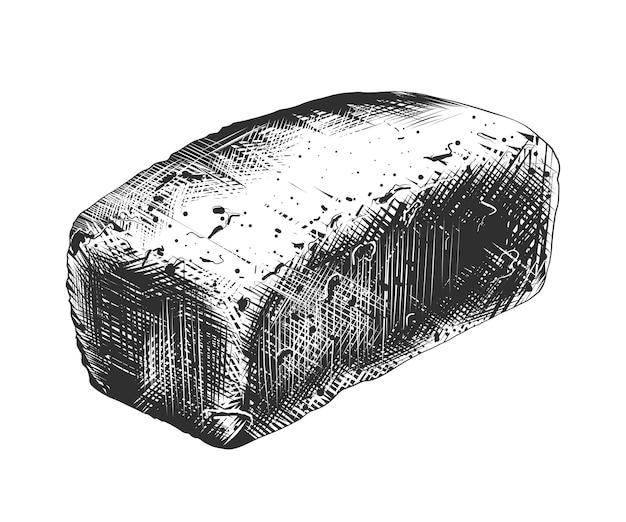 Schizzo disegnato a mano di pane di grano in bianco e nero