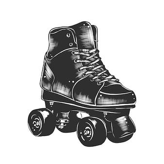 Schizzo disegnato a mano di pattini a rotelle retrò