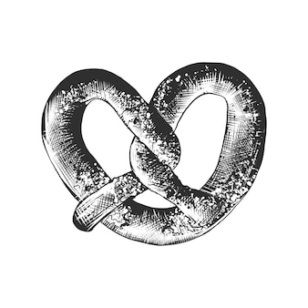 Schizzo disegnato a mano di pretzel con sesamo