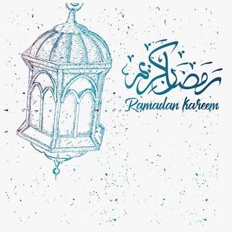 Schizzo disegnato a mano di ramadan lantern con sfondo grunge
