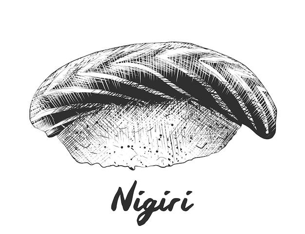 Schizzo disegnato a mano di salmone nigiri in bianco e nero