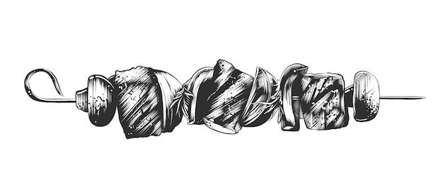 Schizzo disegnato a mano di shashlik sullo spiedo