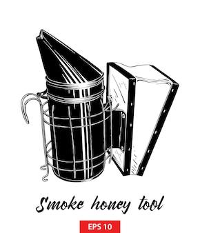 Schizzo disegnato a mano di strumento di miele di fumo