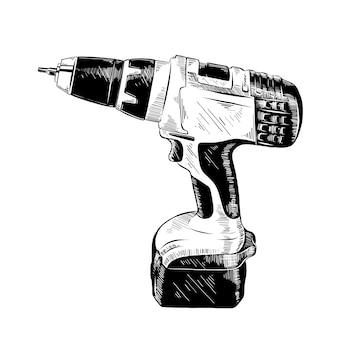 Schizzo disegnato a mano di strumento trapano elettrico