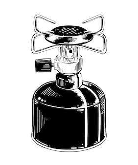 Schizzo disegnato a mano di stufa a gas da campeggio