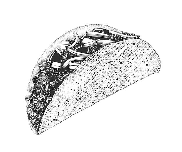 Schizzo disegnato a mano di tacos messicani in bianco e nero