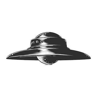 Schizzo disegnato a mano di ufo in bianco e nero