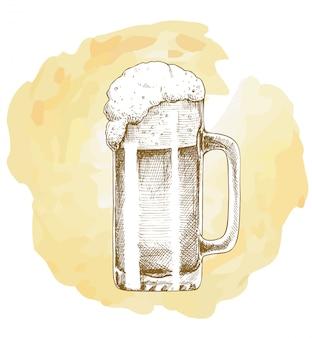 Schizzo disegnato a mano di vettore dell'oggetto della birra del mestiere