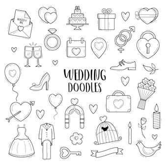Schizzo disegnato a mano di vettore doodle di nozze