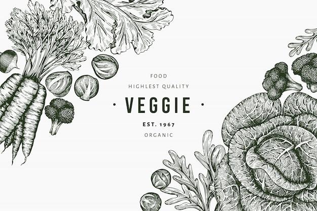 Schizzo disegnato a mano disegno di verdure. alimenti biologici freschi sfondo vegetale retrò. illustrazioni botaniche in stile inciso.