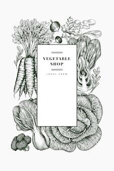 Schizzo disegnato a mano disegno di verdure. modello di banner di alimenti freschi biologici. sfondo vegetale retrò. illustrazioni botaniche in stile inciso.