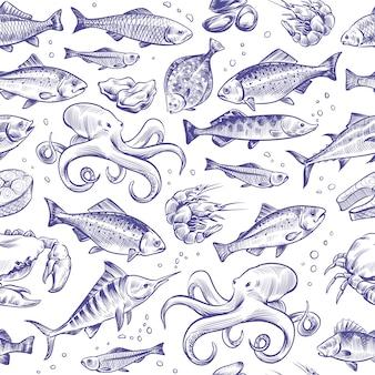 Schizzo disegnato a mano pesce seamless pattern di frutti di mare.