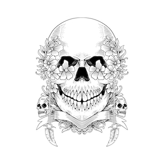 Schizzo disegnato a mano scheletro teschio e fiore può essere utilizzato per tatuaggio, design t-shirt, decorazione.