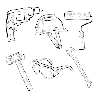 Schizzo disegnato a mano strumenti di costruzione premium