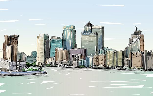 Schizzo il paesaggio urbano di londra, inghilterra, mostra lo skyline e gli edifici lungo il fiume tamigi, illustrazione