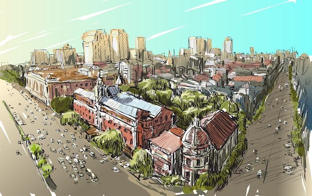 Schizzo il paesaggio urbano di yangon, myanmar sulla strada del filo di topview con edificio coloniale, illustrazione di tiraggio della mano libera