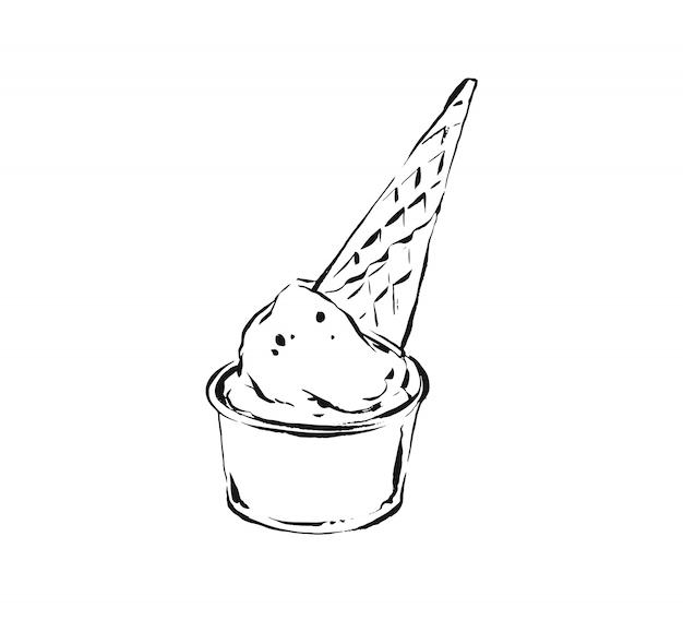 Schizzo illustrazione disegno del cono gelato cialda isolato su sfondo bianco