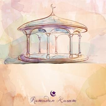 Schizzo islamico della moschea dell'acquerello del fondo di progettazione
