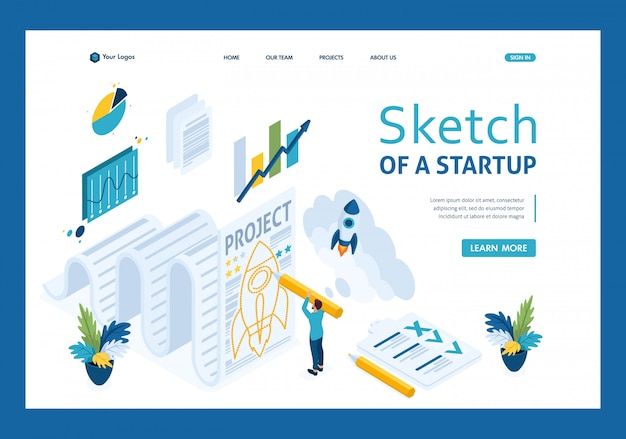 Schizzo isometrico una startup e carta, pagina di destinazione dell'uomo d'affari di schizzo di progettazione
