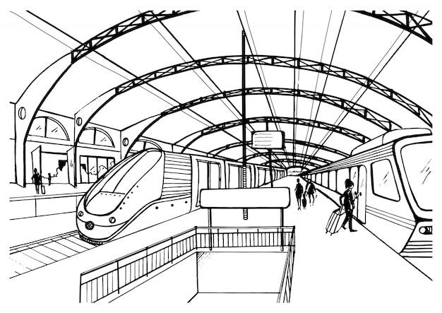 Schizzo monocromatico con stazione ferroviaria. illustrazione in bianco e nero con moderni treni veloci e passeggeri. illustrazione disegnata a mano