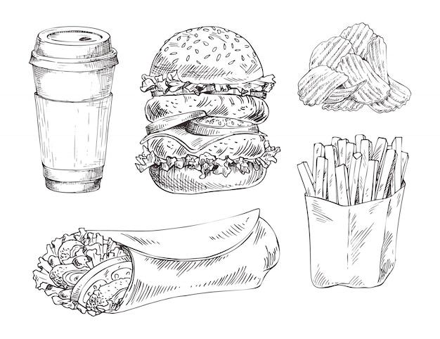 Schizzo monocromatico di vettore disegnato a mano stabilito degli alimenti a rapida preparazione