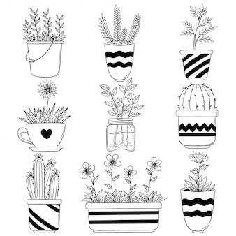 Schizzo o disegnato a mano di fiori con vaso. vettore domestico del fiore della primavera per la decorazione