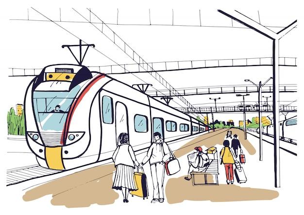 Schizzo orizzontale colorato con persone, passeggeri in attesa del treno elettrico suburbano di arrivo. illustrazione disegnata a mano