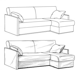 Schizzo realistico di divani isolati su sfondo bianco.