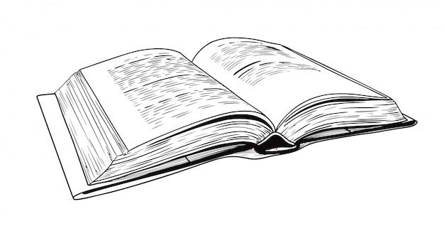 Schizzo realistico di un libro aperto
