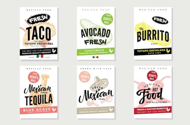 Schizzo set di volantini cibo messicano