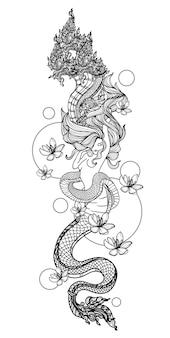 Schizzo tailandese del disegno della mano della letteratura del modello del serpente delle donne di arte del tatuaggio