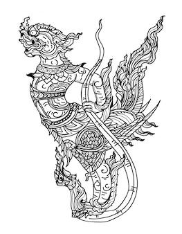 Schizzo tailandese del disegno della mano della letteratura dell'uccello di mitologia di arte del tatuaggio