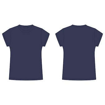 Schizzo tecnico della maglietta dei blu navy isolato su fondo bianco. modello vuoto t-shirt per bambini. stile casual.