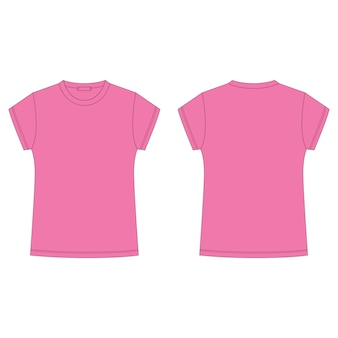 Schizzo tecnico della maglietta rosa isolato su fondo bianco. modello vuoto t-shirt. stile casual per bambini.