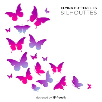Sciame di sagome di farfalle