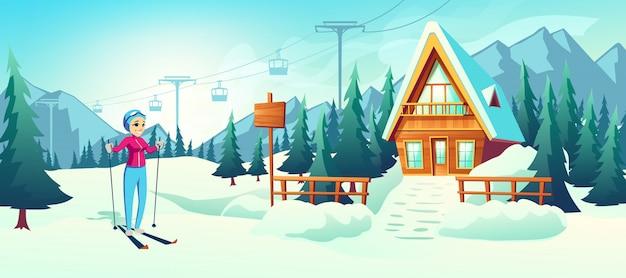 Sciare nel cartone animato di resort invernale di montagna