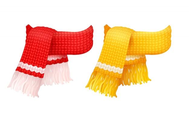 Sciarpa a maglia gialla e rossa, fili di lana bianchi