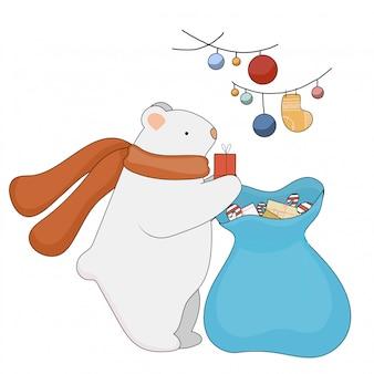 Sciarpa d'uso dell'orso di natale sveglio di vettore. orso bianco con regali e stelle. concetto di natale e capodanno