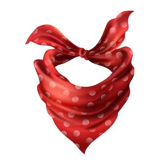 Sciarpa di collo rosso di seta realistico 3d. panno di stoffa di fazzoletto a pois punteggiato. bandana scarlatta