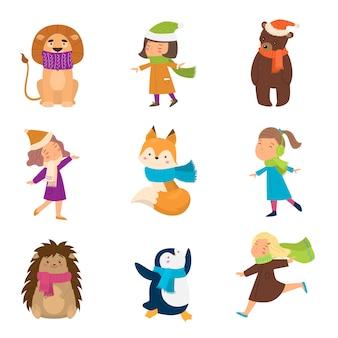Sciarpe variopinte differenti sull'illustrazione degli animali e delle ragazze