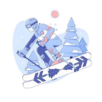 Sciatore che scia nella stazione sciistica