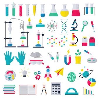 Scienza chimica di vettore chimica o ricerca in farmacia nel laboratorio scolastico per la tecnologia