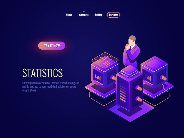 Scienza dei dati, icona isometrica dell'elaborazione di grandi dati, concetto del centro dati della base di dati, informazioni di programma