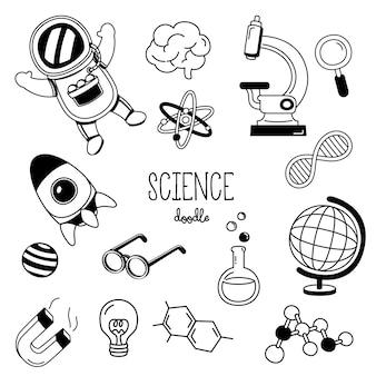 Scienza di stili di disegno a mano. doodle di scienza