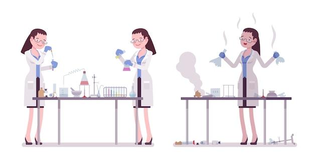 Scienziata che fa esperimenti chimici